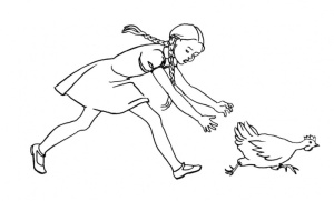 girl-is-chasing-chicken-coloring-page